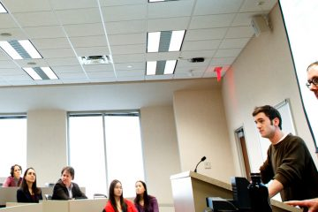 Students Marc Spooner (right) and Derek Hansen present a case they are working on during a School of Law commutation clinic November 22, 2011 at the School of Law.
