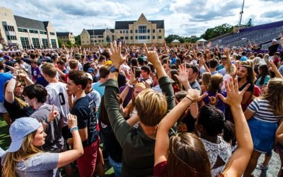 "Students participate in ""The Great Tommie Get-Together,"" a mass ice breaker activity September 3, 2016 in O'Shaughnessy Stadium as part of Welcome Days."