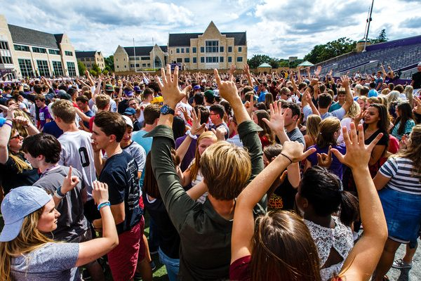 """Students participate in """"The Great Tommie Get-Together,"""" a mass ice breaker activity September 3, 2016 in O'Shaughnessy Stadium as part of Welcome Days."""