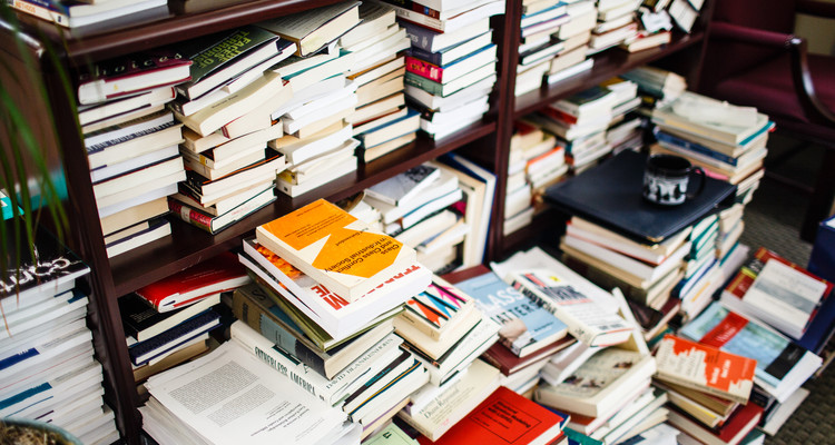 A large stack of books sit on shelves and the floor in Sociology and Criminal Justice Professor Lisa Waldner's office in the John R. Roach Center for the Liberal Arts on August 13, 2015..
