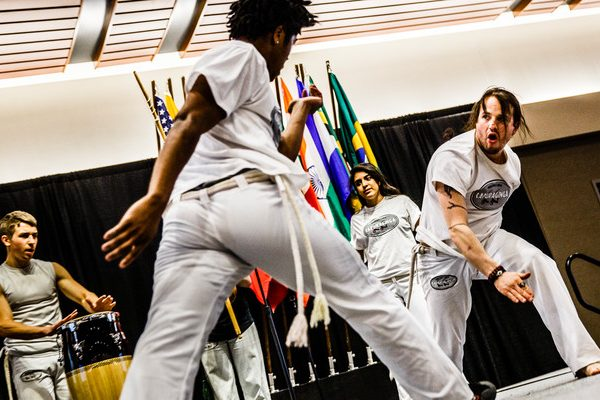 The Capoeira Club performs during the 27th Annual International Dinner April 30, 2016, in the Anderson Student Center's Woulfe Alumni Hall. Capoeira is a form of martial arts dance originating in Brazil.
