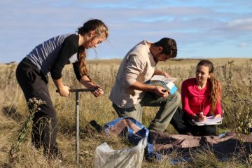 Students Shayna Thostenson, Jack Kellner and Sarah Howe record soil samples in October 2016 at The Nature Conservancy's John E. Williams Preserve. Photo by Noelle Laske '20.