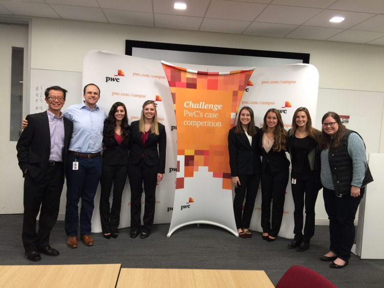 From left to right: Lawrence Chui (faculty adviser) Hunter Strop (St. Thomas alumnus at PwC and our the PwC mentor), Sophia Nicklason, Emily Rose, Abby Radue, Francesca Bergin, Julia Carroll (St. Thomas alumna at PwC and the team PwC mentor), and Anne Christianson (the team liaison from PwC). Not pictured, Kim Ishaug (faculty adviser).