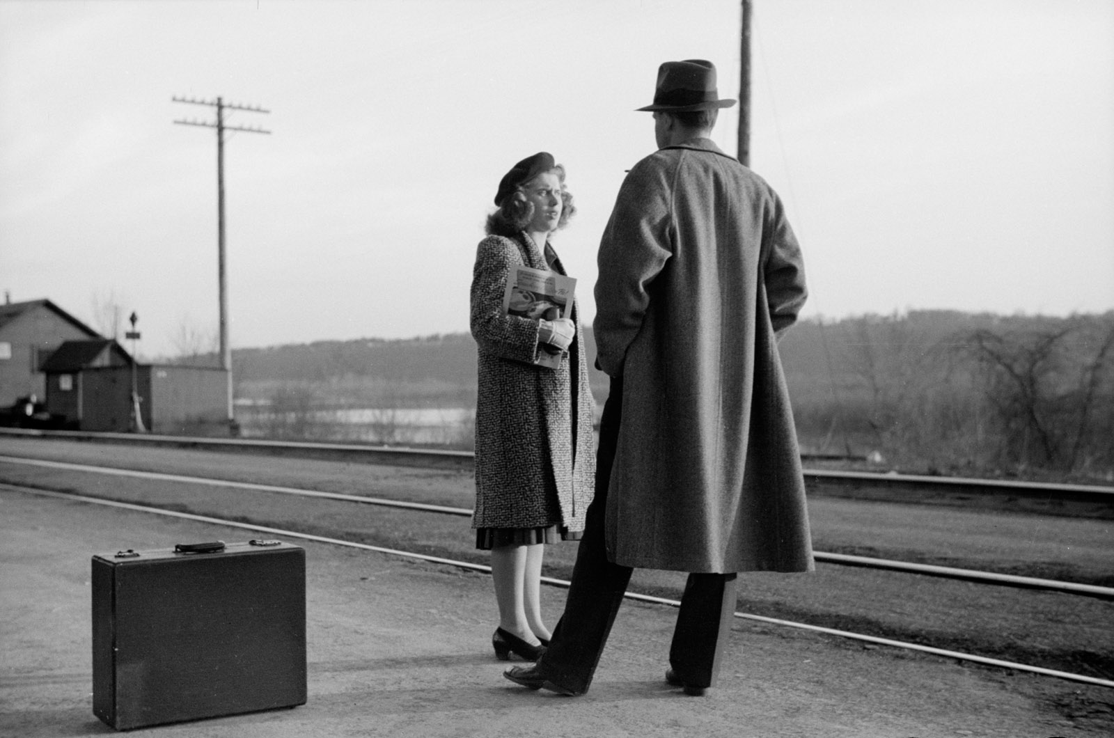 Waiting for the train to Minneapolis, East Dubuque, Illinois, April 1940