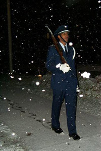 An ROTC cadet left footprints in the snow during last year's vigil.
