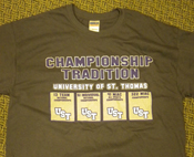 Championship Tradition T-shirts will be given to all students who help send off in style the volleyball and women's soccer teams as they pursue national championhsips.