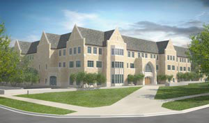 The student center will have two primary entrances; this is the one that faces Summit Avenue.