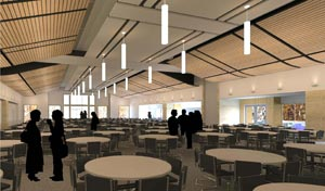 This large multipurpose room on the third floor will provide flexible space for everything from dinners to dances.
