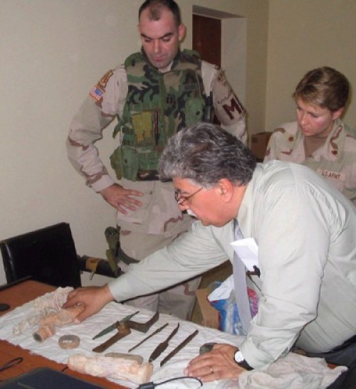 Dr. Donny George Youkhanna (foreground), former director-general of the National Museum of Iraq, was instrumental in recovering nearly half of the 15,000 Mesopotamian artworks and artifacts looted from the Bagdhad museum and other archaeological sites during the 2003 invasion.