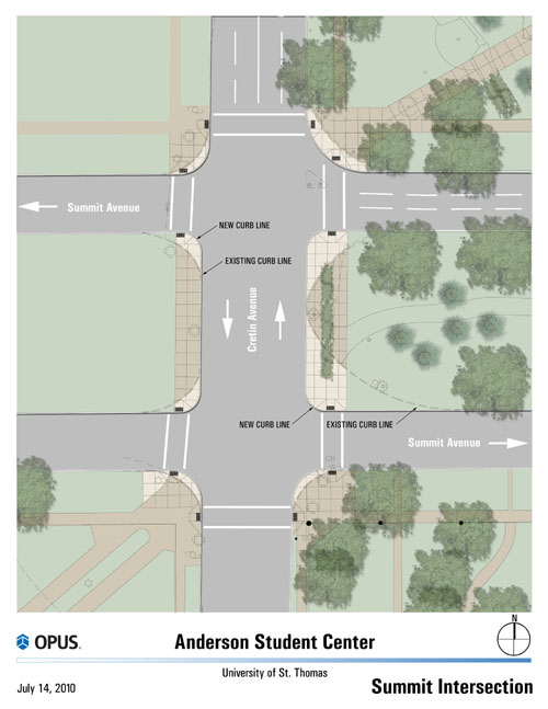 Here is a site plan for improvements to the Summit-Cretin intersection.