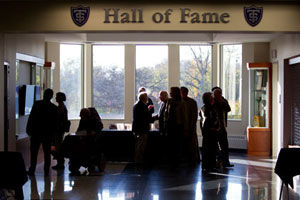 Members of the St. Thomas Board of Trustees and others visited the interactive St. Thomas Athletic Hall of Fame following Wednesday's dedication of the Anderson Athletic and Recreation Complex.