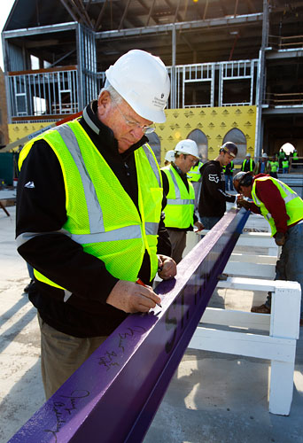 "Athletic director Steve Fritz was among those who signed their names to the final piece of structural steel that ""topped off"" the Anderson Student Center."