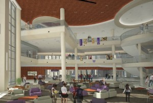 An architectural rendering of the atrium in the Anderson Student Center.