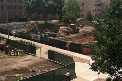 Crews will be busy in St. Thomas' lower quad through much of the summer.