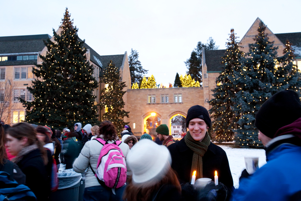 The Christmas tree- and crèche-lighting ceremony is an annual tradition on the St. Paul campus of the University of St. Thomas.