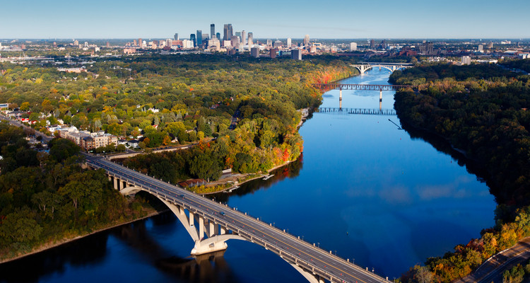 An aerial view of the Minneapolis skyline and the Mississippi River taken September 23, 2012.