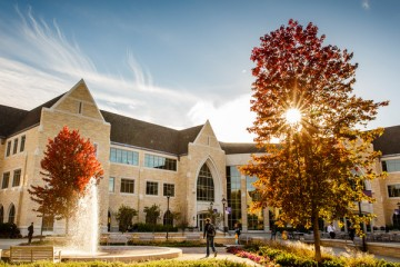 The Anderson Student Center surrounded by the colors of fall. (Photo by Mark Brown)