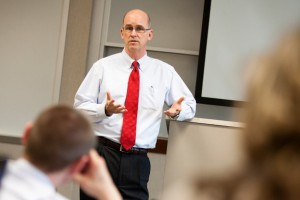 Thomas Mengler, Dean of the School of Law, teaches a class at the School of Law on Tuesday, April 19, 2011.