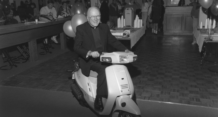 Father 'scooter' Lavin on a scooter in Scooter's
