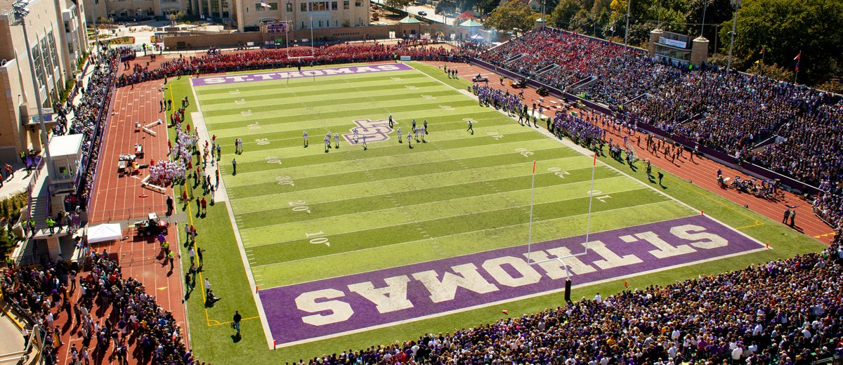 The 2011 crowd was estimated at 10,425, a record in UST's O'Shaughnessy Stadium. Temporary bleachers filled one end zone (foreground here). In 2012 the Tommies will attempt to build their first three-game win streak in the Tommie-Johnnie series since they did it in 1954-57. (Photo by Thomas Whisenand)