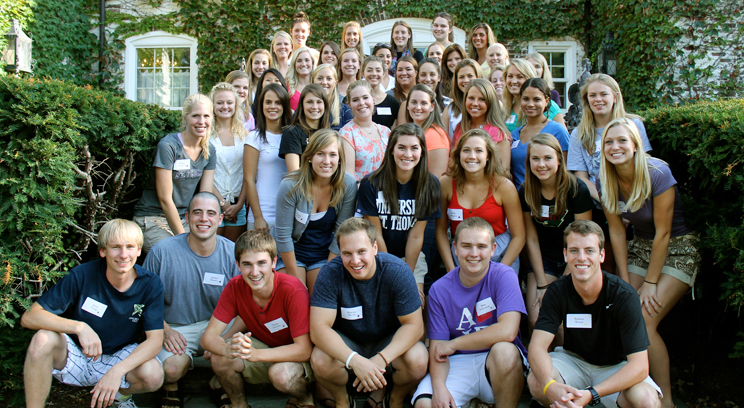 The current Student Alumni Council – pictured at its annual summer retreat at the university's Gainey Conference Center in Owatonna, Minn.