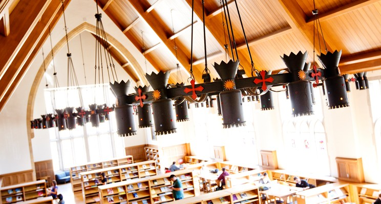 """The """"great hall"""" on the second floor of the O'Shaughnessy-Frey Library. Photo by Mike Ekern."""