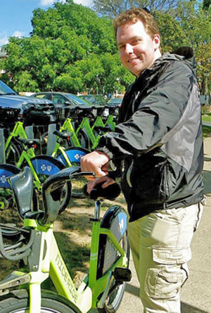 Mitchell Schaps was one of the geography students who helped develop the NiceRide bicycle discount program for the St. Thomas campus.