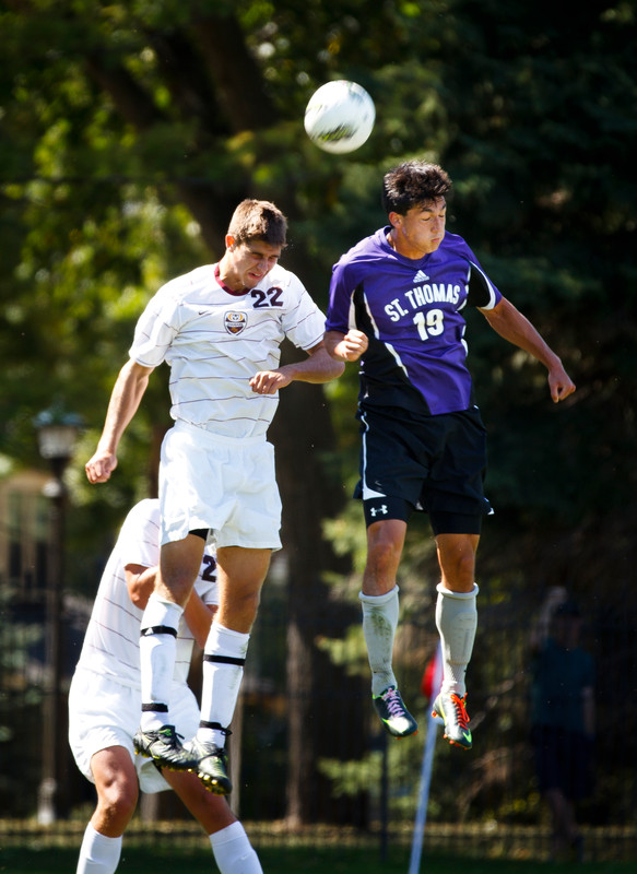 Nick Rapisarda goes after the ball during a men's soccer game against the University of Minnesota Morris on Sept. 9, 2012 on the South Athletic Fields. The Tommies won 2-0. (Photo by Mike Ekern '02)