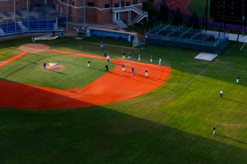 The baseball team practices on Koch Diamond as seen from a helicopter. (Photo by Mike Ekern)