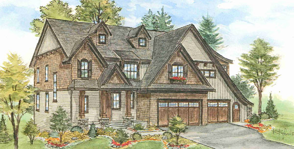 This  is a sketch of the house on Arrowhead Lake in Edina. Work started in July and it was ready for this spring's Parade of Homes.