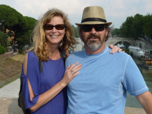 Bock and her husband, Carson, on a bridge over the Tiber River in Rome.