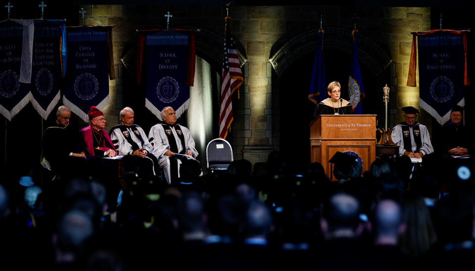 President Julie Sullivan delivers her inauguration address. (Photo by Mike Ekern '02)