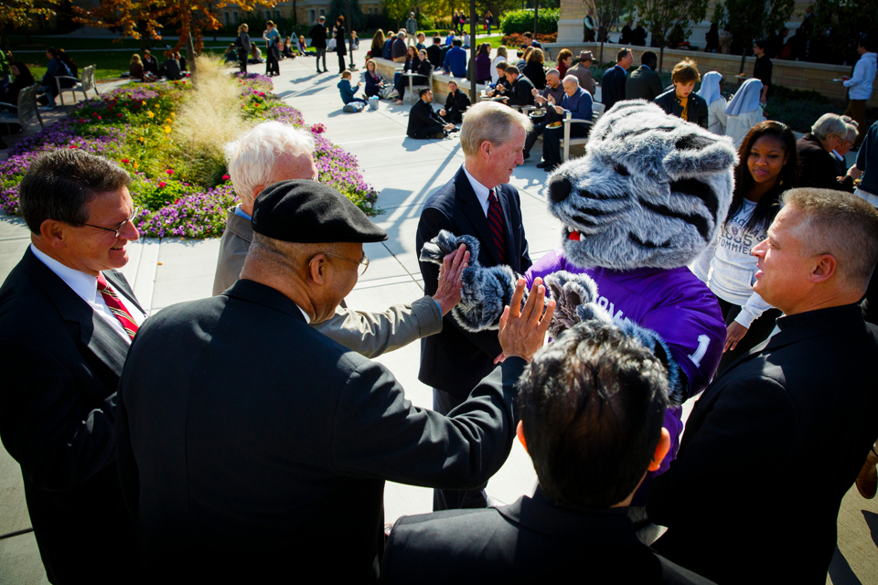 Tommie the mascot greets people on the John P. Monahan Plaza during the community lunch prior to the inauguration. (Photo by Mark Brown)