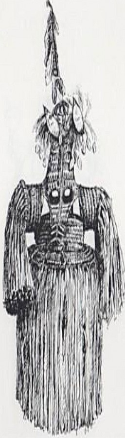 An Asmat spirit mask, this one drawn by Tobias Schneebaum, can be seen in the current exhibition.