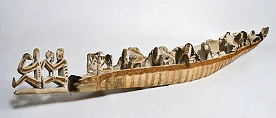 A spirit canoe, or wuramon, is among the largest carvings the collection of the American Museum of Asmat Art.