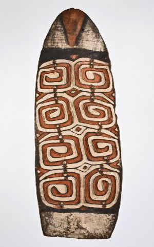 The American Museum of Asmat Art has 65 carved shields in its collection. Twelve of them were selected for the current exhibition on Tobias Schneebaum.