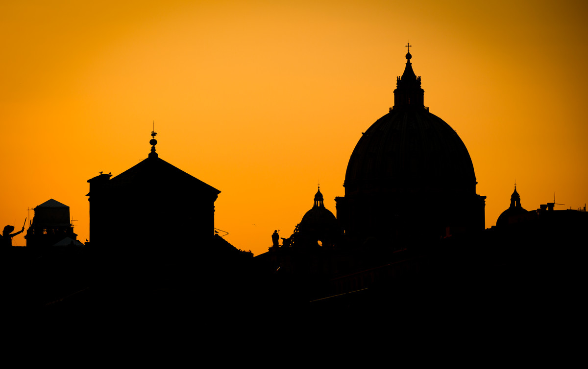 Saint Peter's Basilica is seen in silhouette on Feb. 28 in Rome, Italy. The Catholic Studies program, which has a study abroad program in Rome, celebrated its 20th anniversary this year. (Photo by Mark Brown)