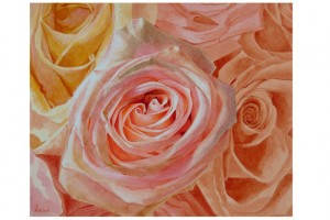 This painting of roses by Charles Lyon of Minneapolis  is one of more than 50 works of botanical art now on display in the lobby gallery of O'Shaughnessy Educational Center.