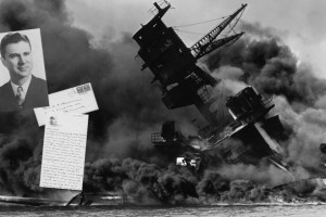 After attending the College of St. Thomas for three years, Harry Rasmussen was in the U.S. Army and stationed in San Diego, Calif., on Dec. 7, 1941, the day Pearl Harbor was attacked. That evening he wrote a letter to his father. He returned to St. Thomas after WW II. That historic letter and his four yearbooks were recently delivered to St. Thomas.  (Inset: Rasmussen and his letter.)