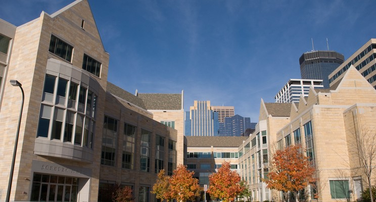 A view of Schulze Hall and Terrence Murphy Hall