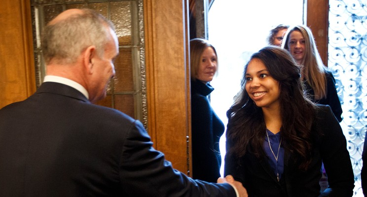 Volleyball Team with Governor Dayton
