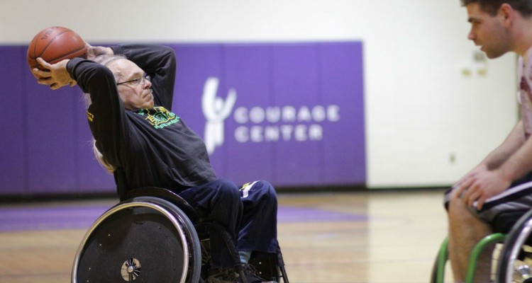 Paul VanWinkel, a former Paralympic athlete, plays basketball at the Courage Center. (Photo courtesy of Austin Riordan)