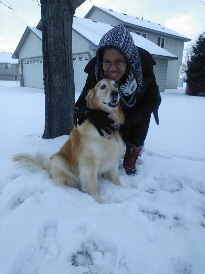 Balthazar with Freedom, her roommate's dog, over Thanksgiving break 2014, in Hastings, Minnesota.