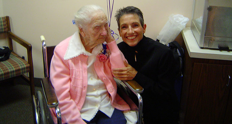 Catherine Johnson with her grandmother at her 110th birthday celebration.