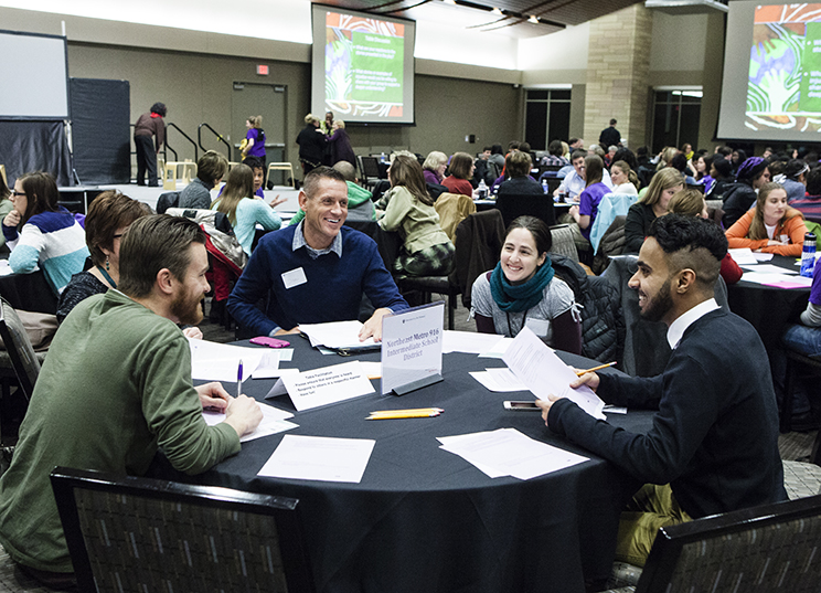 Educators from Northwest Metro 916 Intermediate School District participate in table discussion during the Education for Everyone event January 27, 2015 in the Anderson Student Center's Woulfe Alumni Hall.
