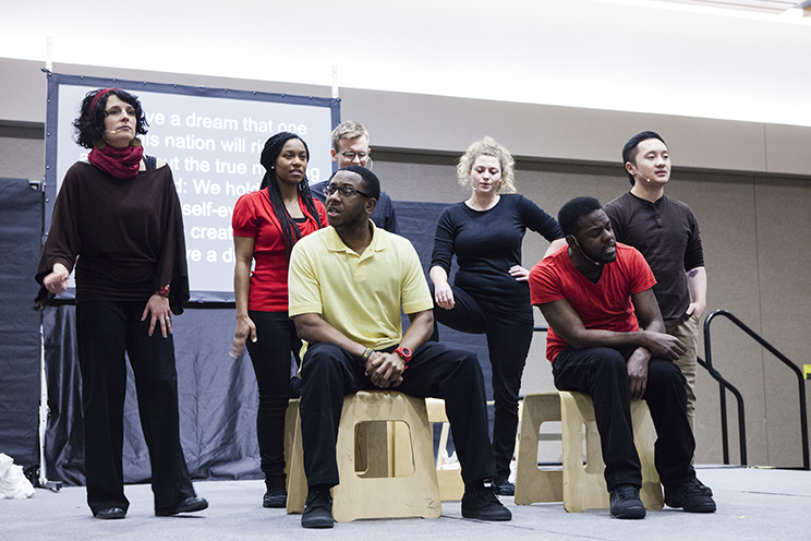 """CLIMB Theatre performers present, """"A Deeper Look,"""" during the Education for Everyone event January 27, 2015 in the Anderson Student Center's Woulfe Alumni Hall."""
