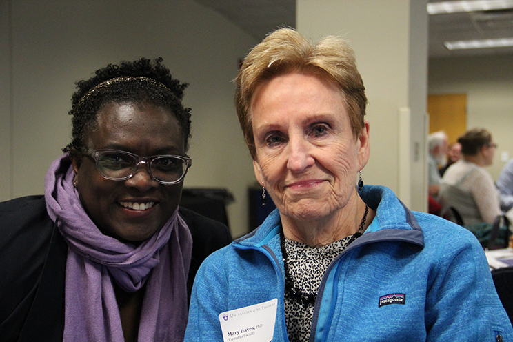 Dr. Beryl Wingate '99, and Dr. Mary Hayes, Emeritus Faculty pictured at the Graduate School of Professional Psychology First Annual Networking Event on November 8, 2014 in Opus Hall at the University of St. Thomas.