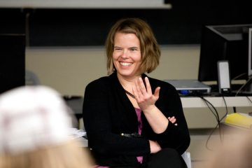 Professor Kari Fletcher teaches during a School of Social Work class in the Summit avenue Classroom Building on Friday, December 3, 2010.
