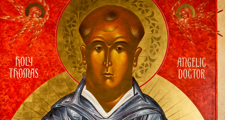 An icon artwork of St. Thomas Aquinas is pictured.