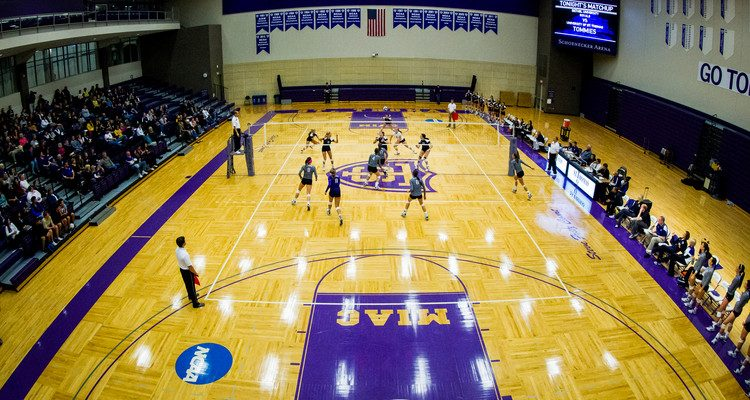 The Schoenecker Arena is shown during a women's volleyball game against Bethel.